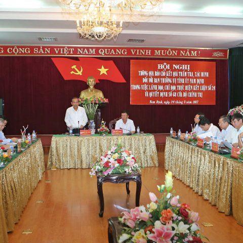 Công bố kết quả thẩm tra đối với Ban Thường vụ Tỉnh ủy Nam Định