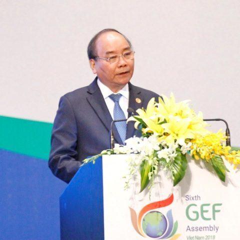 Thủ tướng Nguyễn Xuân Phúc phát biểu tại khai mạc toàn thể Đại hội Quỹ Môi trường toàn cầu lần thứ sáu