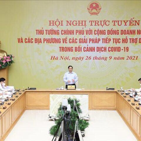 Thủ tướng Phạm Minh Chính chủ trì Hội nghị trực tuyến về các giải pháp tiếp tục hỗ trợ doanh nghiệp